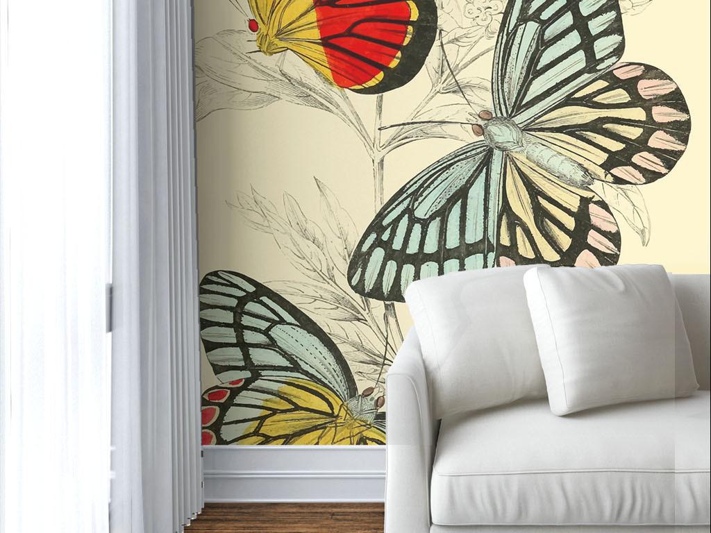 美式风格手绘彩色蝴蝶墙纸