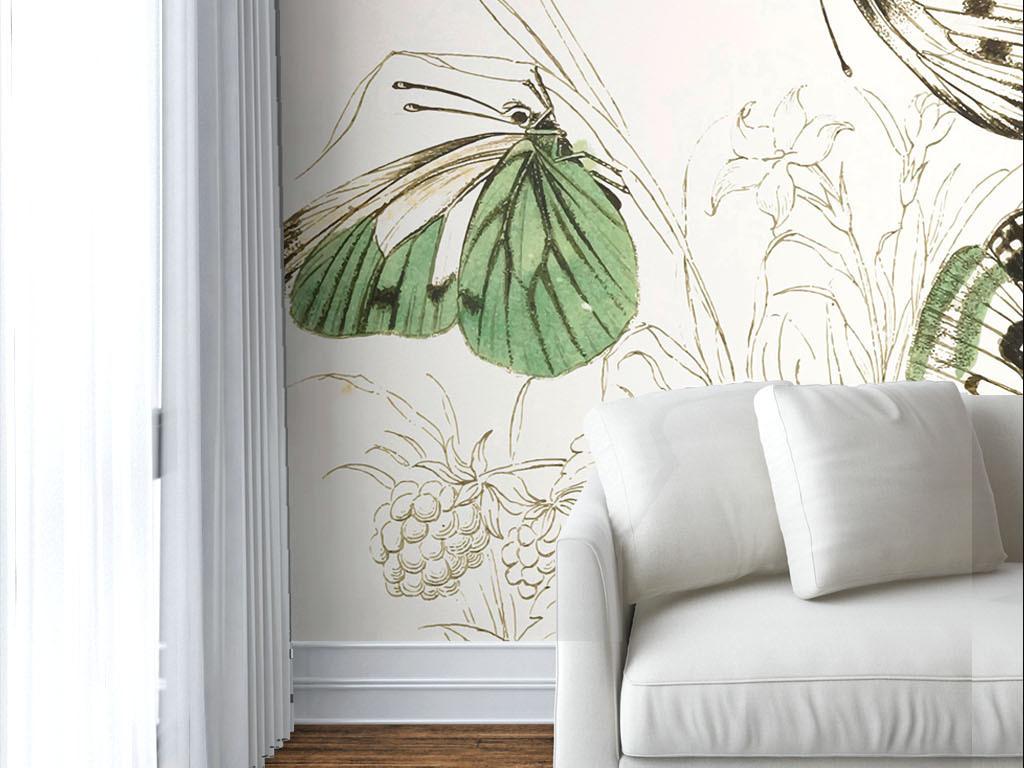 美式风格淡雅手绘绿色蝴蝶墙纸图片