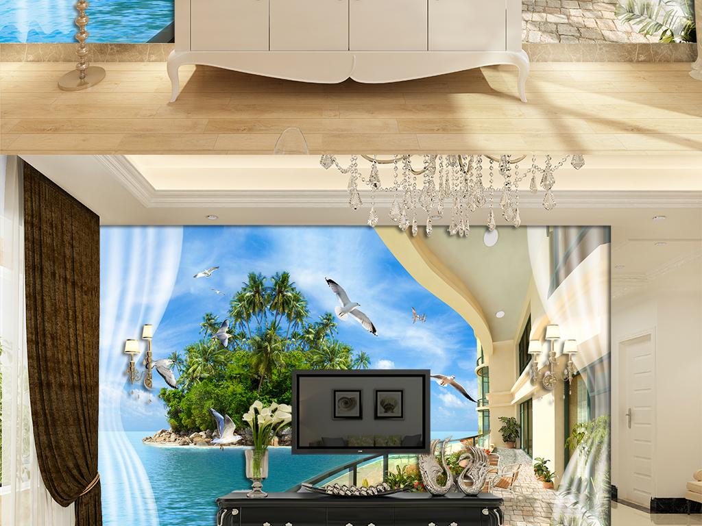 海景别墅电视背景墙图片