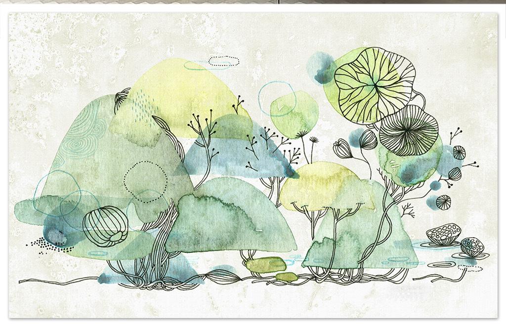 清新草木绿色手绘水彩山水画风景电视背景墙