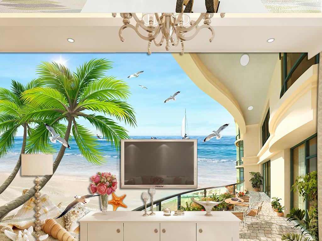 海边椰树欧式海景别墅沙滩电视背景图片