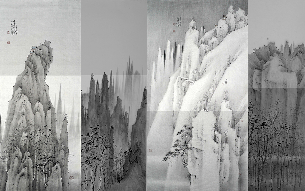 新中式中国古典山水画客厅背景墙装饰画图片