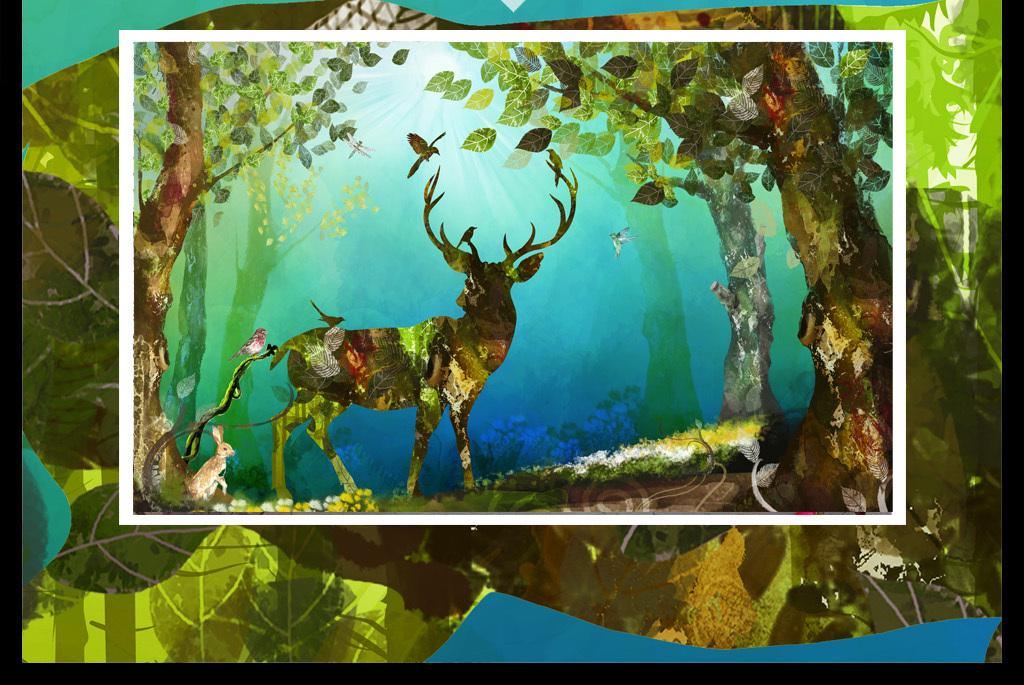 唯美绿色清新风景抽象手绘驯鹿背景墙装饰画