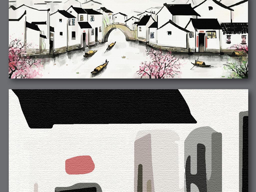 手绘江南水乡背景墙(图片编号:15976044)_山水风景画