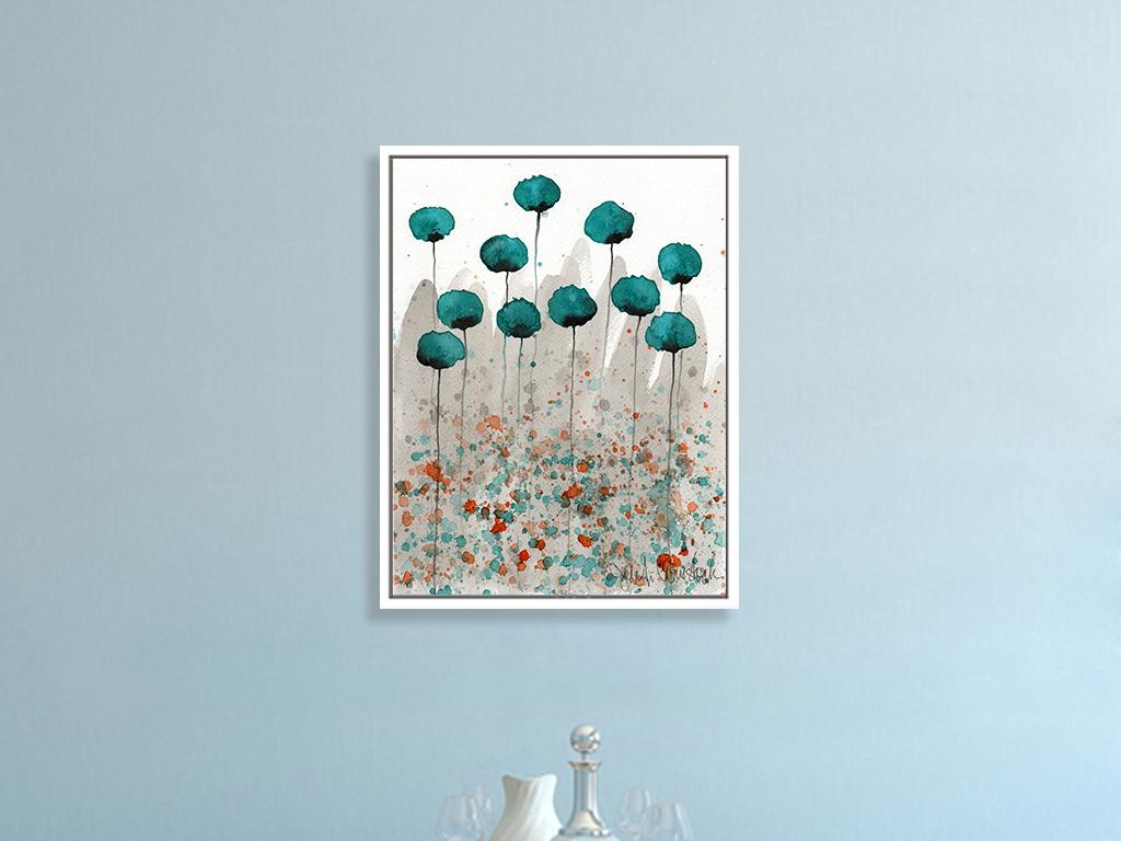 北欧现代花卉手绘抽象水彩画装饰画图片