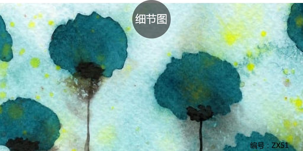 手绘花卉北欧简约抽象水彩画装饰画图片