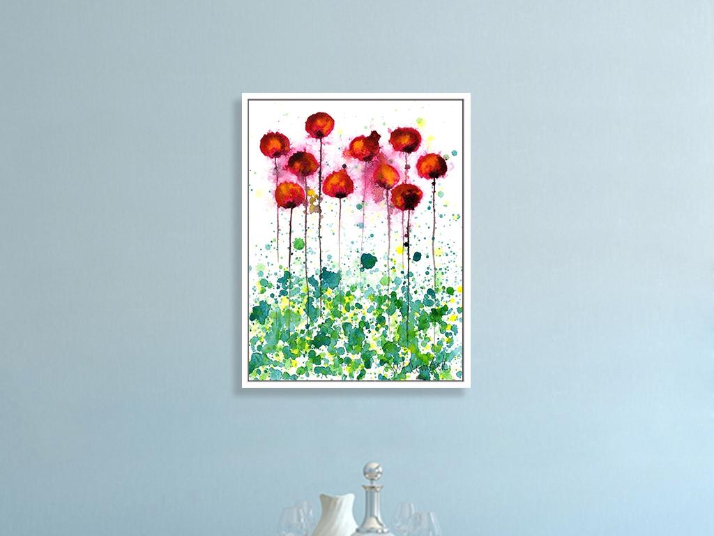 手绘水彩花卉北欧现代抽象画客厅装饰画