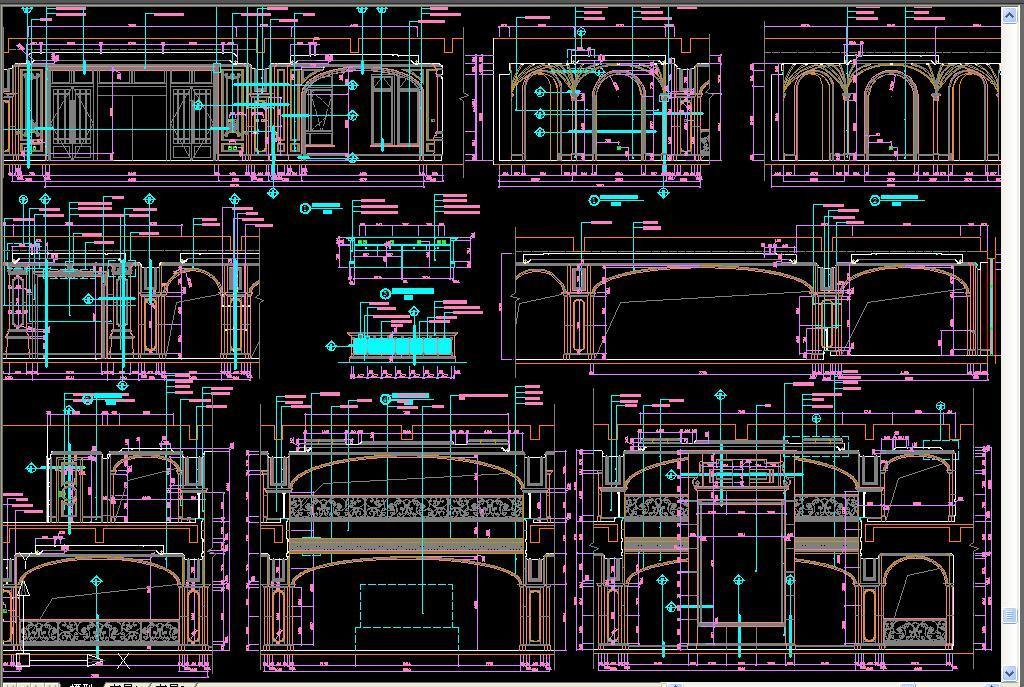 展厅设计欧式护墙板护墙欧式设计设计欧式家装cad平面图cad家具专卖店