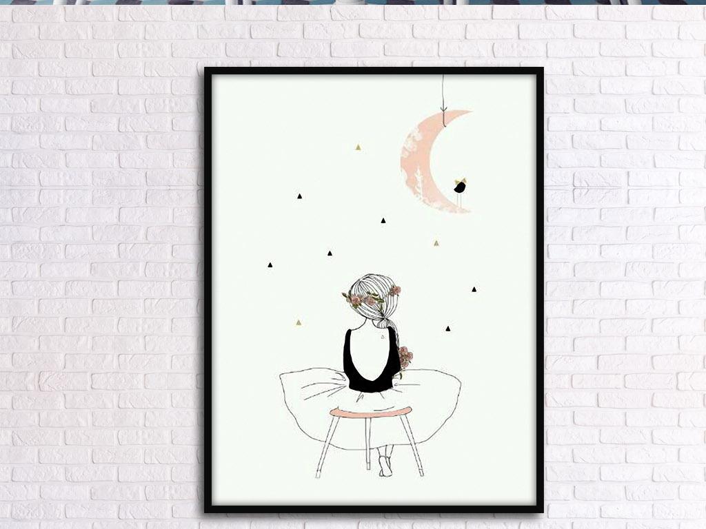 下弦月的等待北欧小清新手绘欧式家居装饰画图片设计图片
