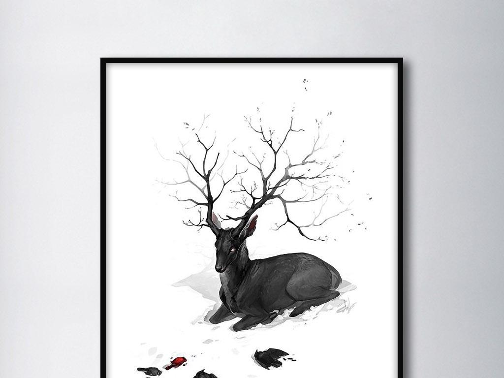 麋鹿欧式欧美北欧美式手绘唯美
