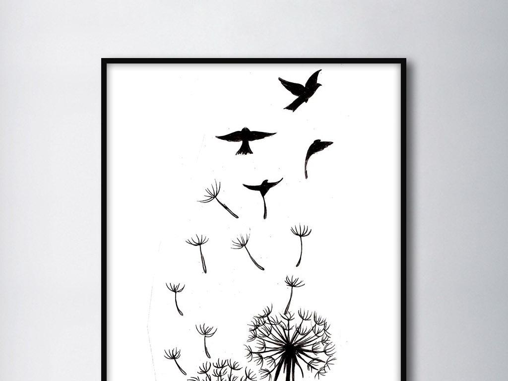 蒲公英随风飞扬鸟儿黑白手绘欧式现代装饰画