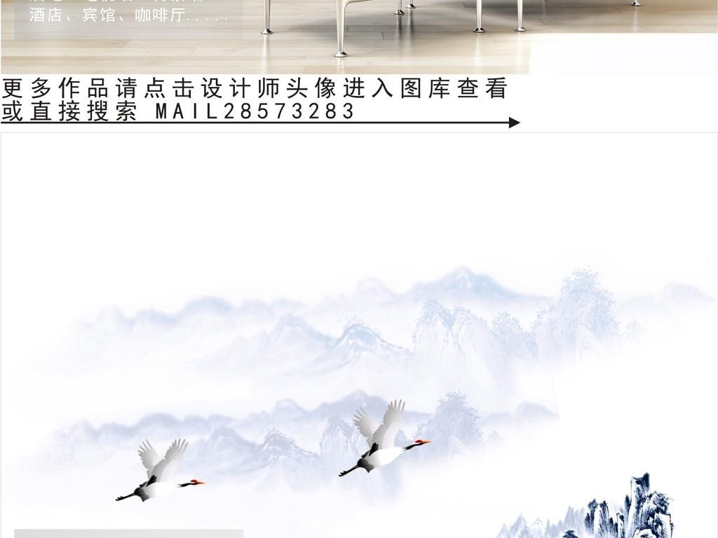 新中式水墨画电视背景墙图片