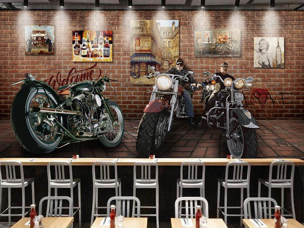 潮流3d砖墙哈雷摩托车复古背景墙