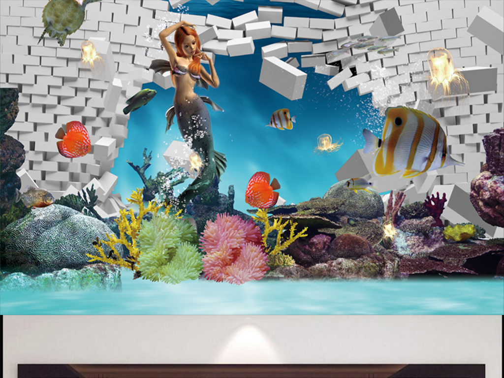 3d立体画海底美人鱼图片