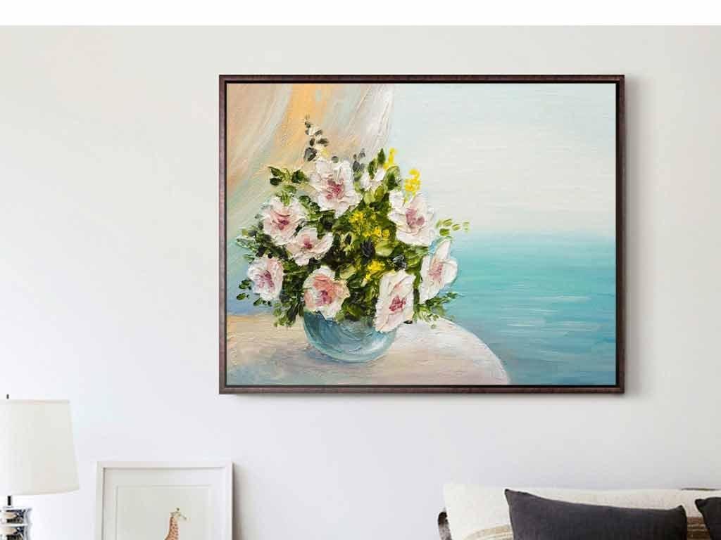 装饰画 北欧装饰画 植物花卉装饰画 > 手绘大海蓝色花瓶花盆玉兰花