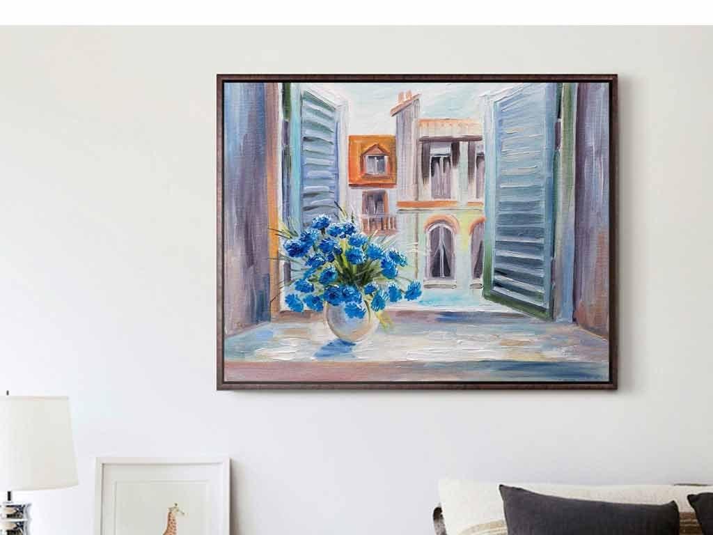 动物山水巨幅装饰画花卉蓝色花朵彩绘阳台花卉花朵蓝色花卉窗台花朵蓝