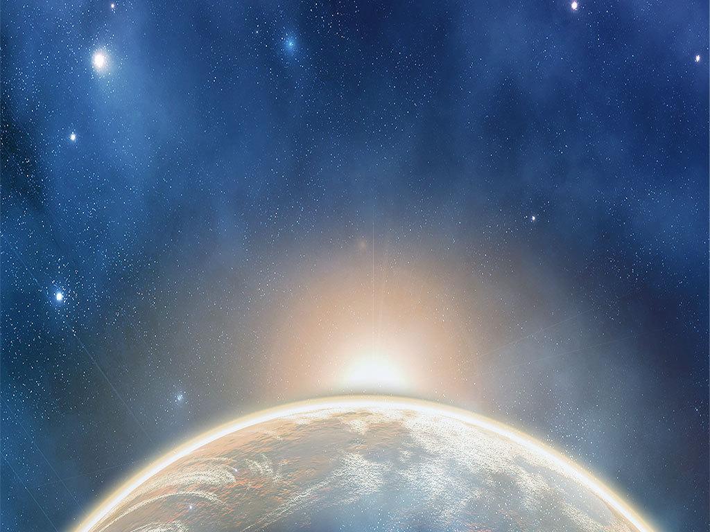 蓝色星空创意科幻海报背景