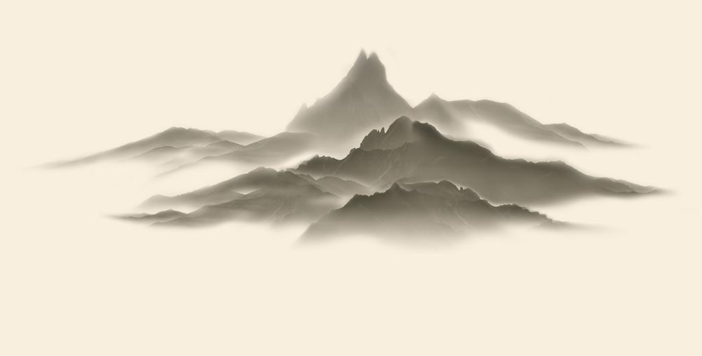意手绘山水                                  黑白山水现代简约山水