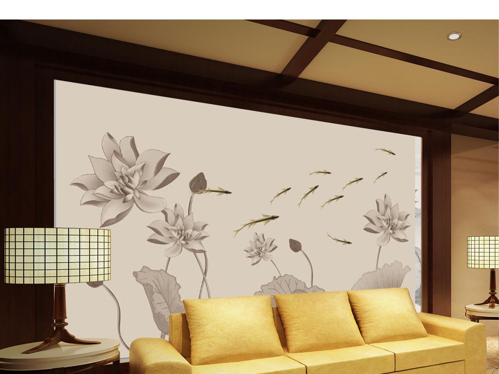 手绘新中式荷花鲤鱼电视背景墙