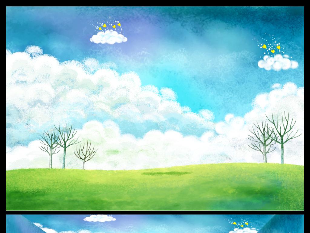 背景墙|装饰画 电视背景墙 儿童房背景墙 > 卡通清新蓝天白云儿童房间图片
