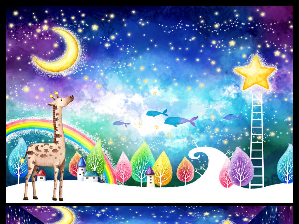 背景墙|装饰画 电视背景墙 儿童房背景墙 > 时尚唯美月亮星星儿童房间