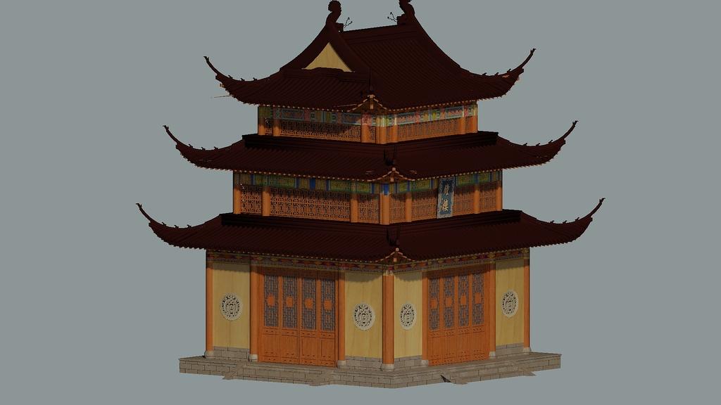 3dmax复古古建钟楼中式(图片编号:15978183)_建筑图纸图片