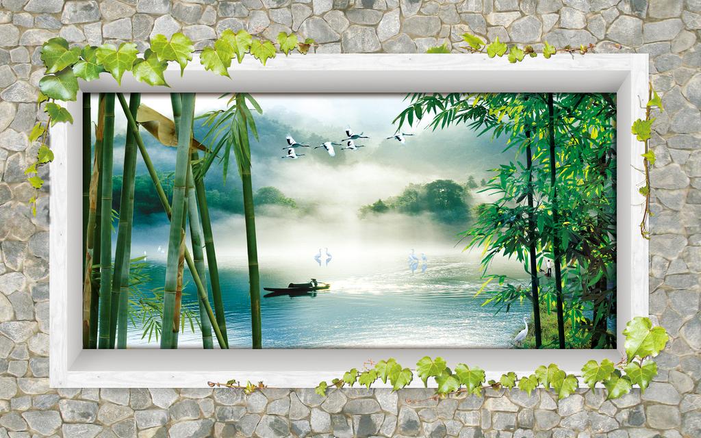 绿色竹林湖泊电视背景墙