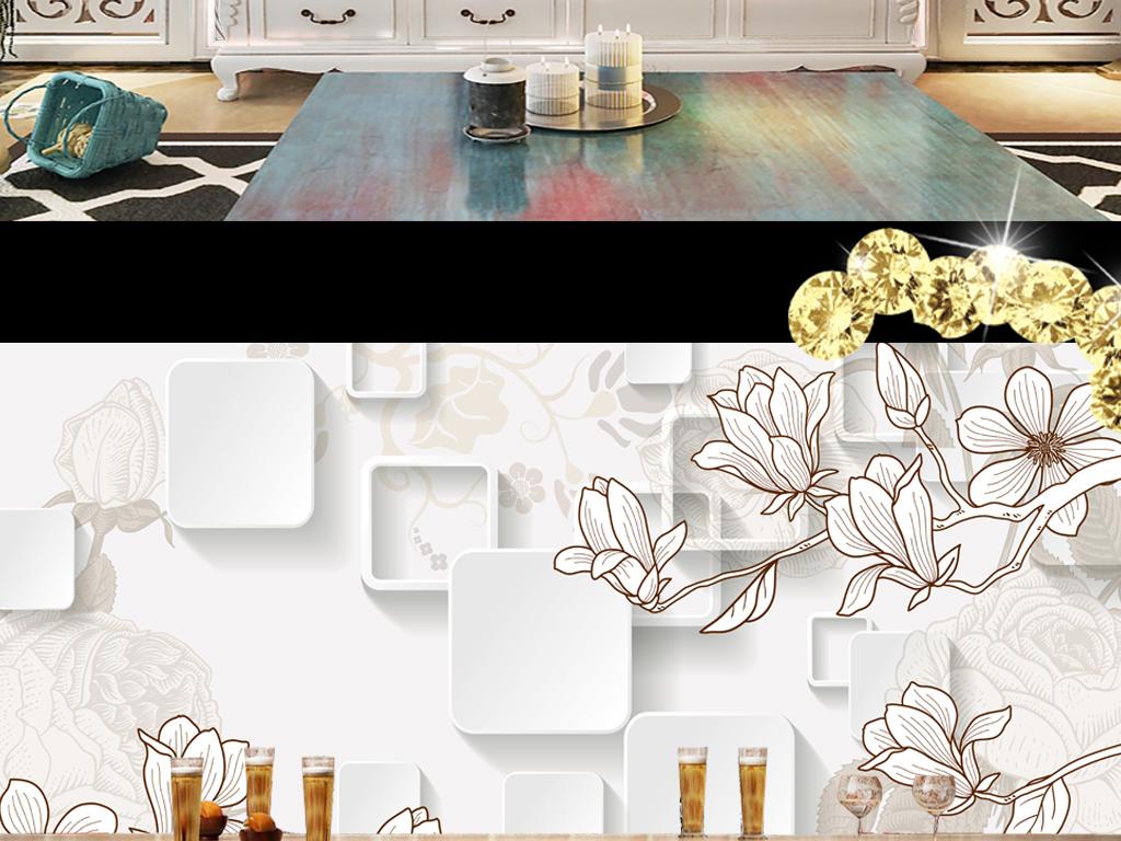 线条手绘复古花卉复古花卉沙发背景艺术玉兰花卉手绘