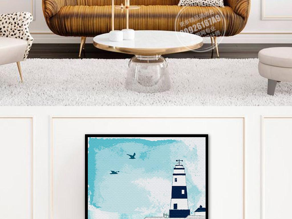 手绘背景墙灯塔海鸥彩色手绘水墨彩色水墨手绘灯塔手