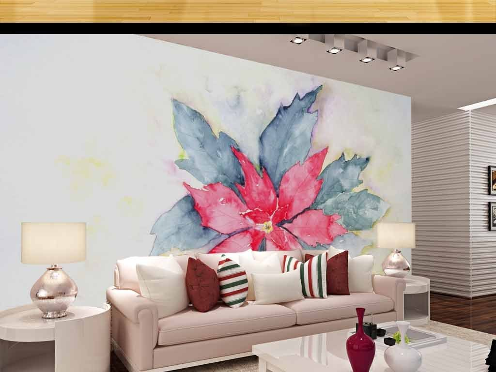 手绘花朵花卉太阳花电视背景墙