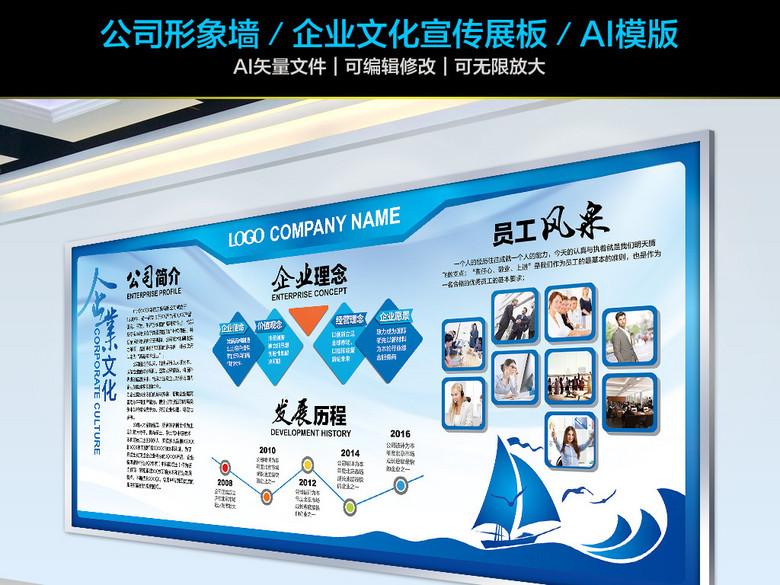 蓝色企业文化形象墙公司介绍宣传展板