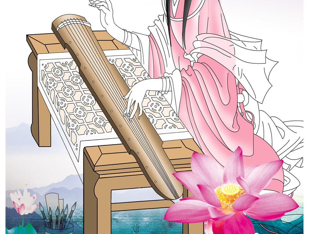 卡通古代美女线描