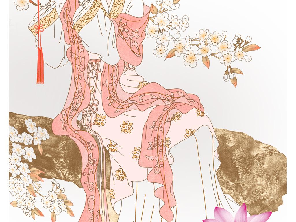 古代美女玄关背景墙