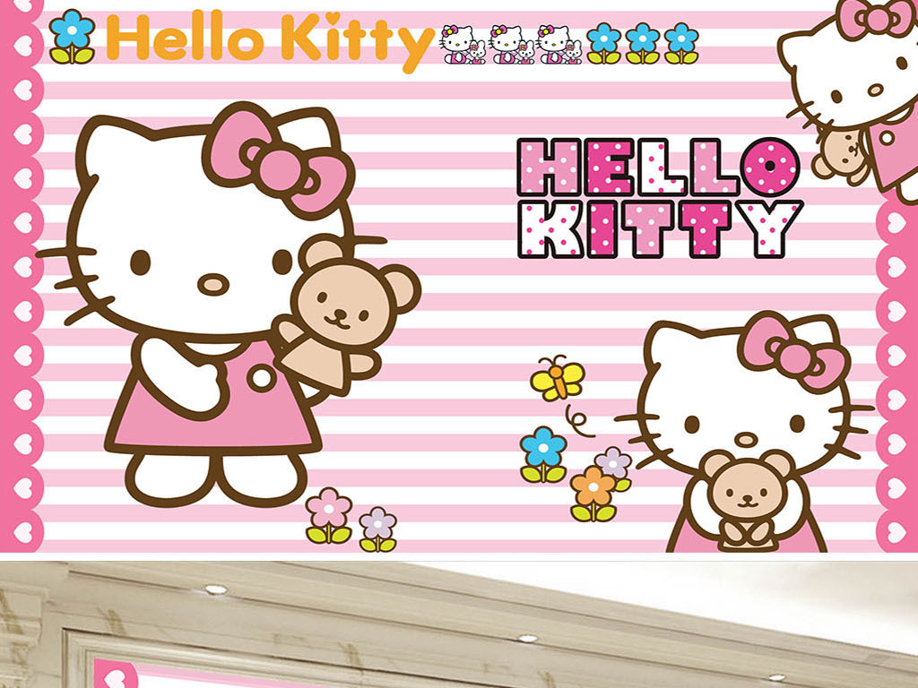 可爱小猫猫咪儿童卡通儿童房背景墙(图片编号:)