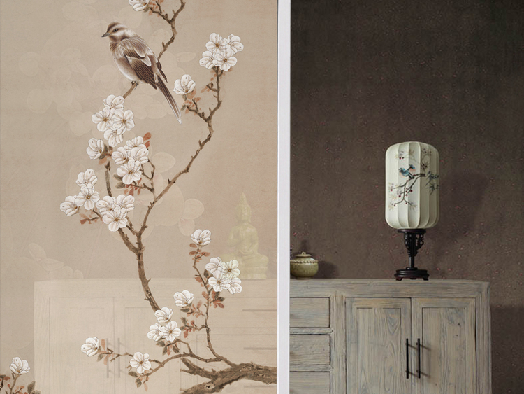 海棠玄关新中式无框画中式玄关手绘花鸟梅花
