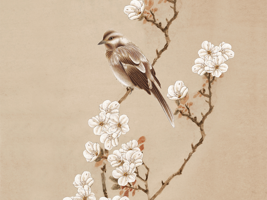 海棠玄关新中式无框画中式玄关手绘花鸟梅花图片