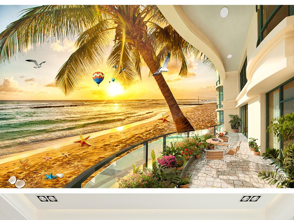 地中海欧式奢华海景别墅沙滩椰树电视背景图片