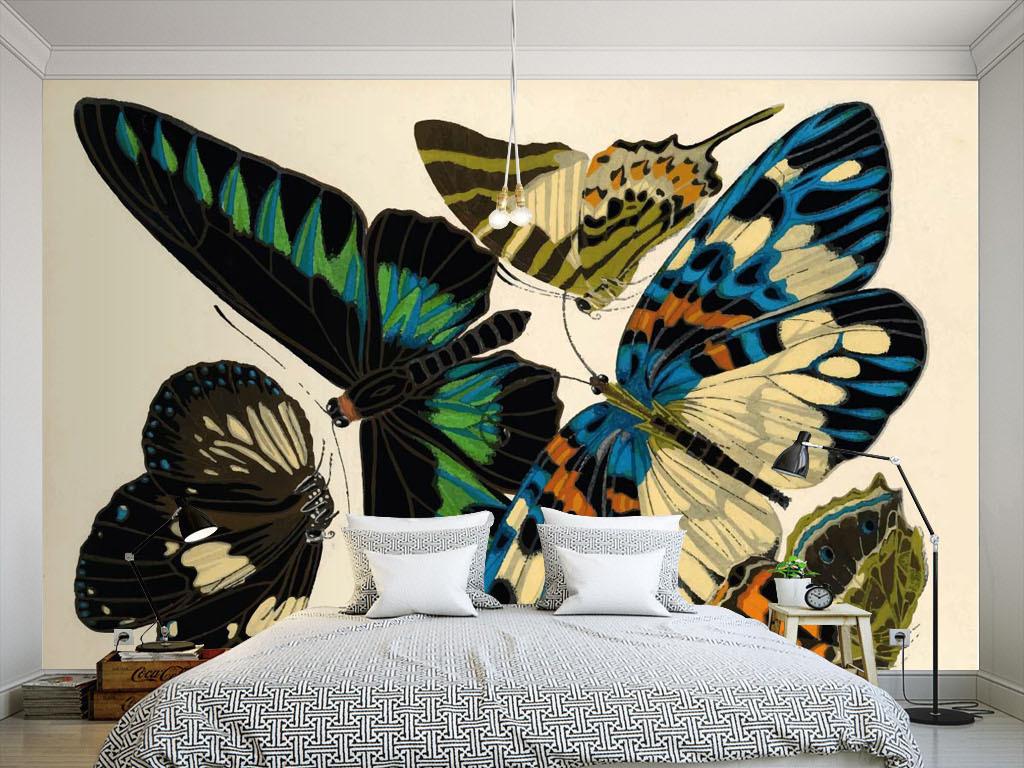 美式风格蝴蝶手绘墙纸