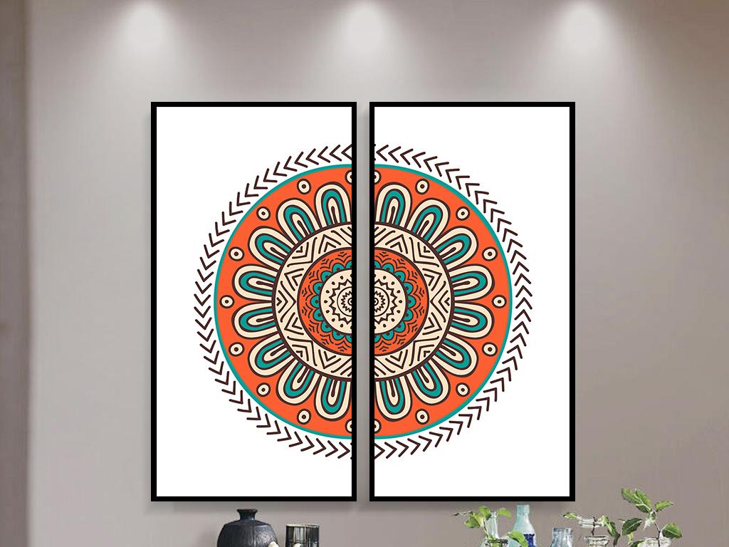 绣花现代简约玄关书房客厅装饰画两联组合圆形图案图片