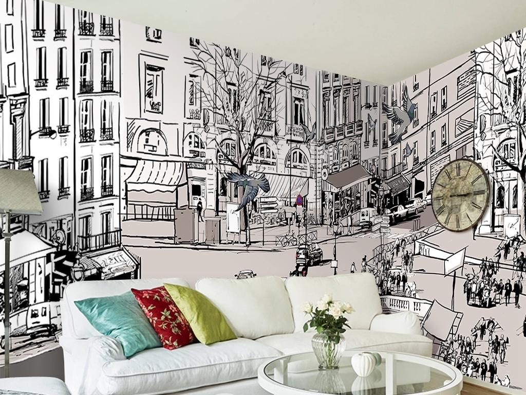 街道城市素描城市黑白手绘背景墙图片手绘电视背景墙