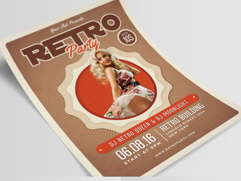 平面|广告设计 海报设计 国外创意海报 > 复古典雅摩登女士派对海报