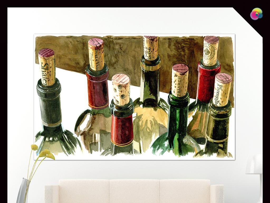 手绘高清静物红酒瓶水彩装饰画插
