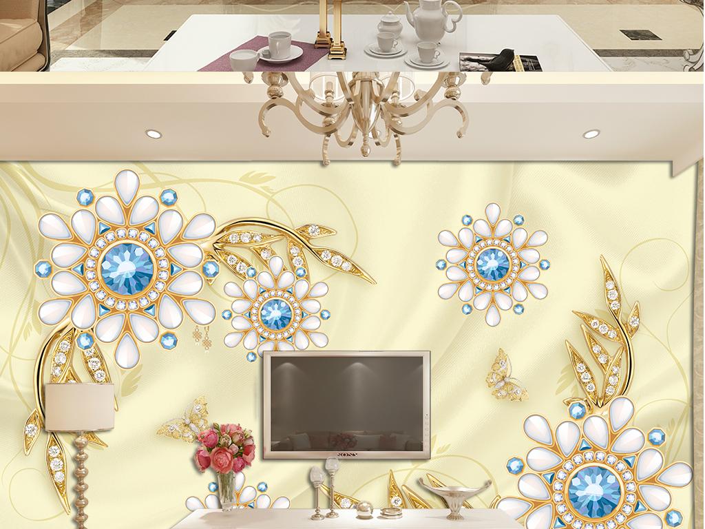 3d立体丝绸欧式宫廷珠宝花朵电视背景(图片编号:)