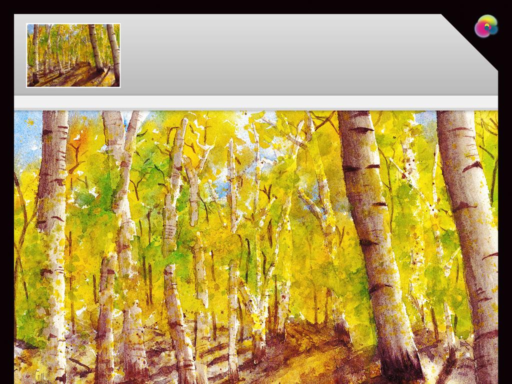 背景墙|装饰画 电视背景墙 手绘电视背景墙 > 金秋白桦树林玄关大型
