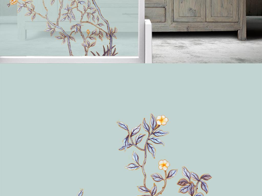 手绘花鸟工笔画工笔花鸟新中式背景墙中国风图片