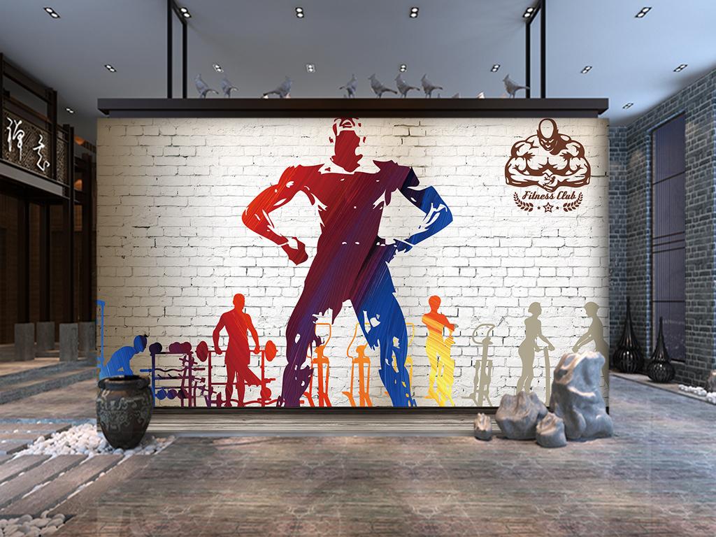 卡通人物插画俱乐部背景墙健身房背景墙彩绘