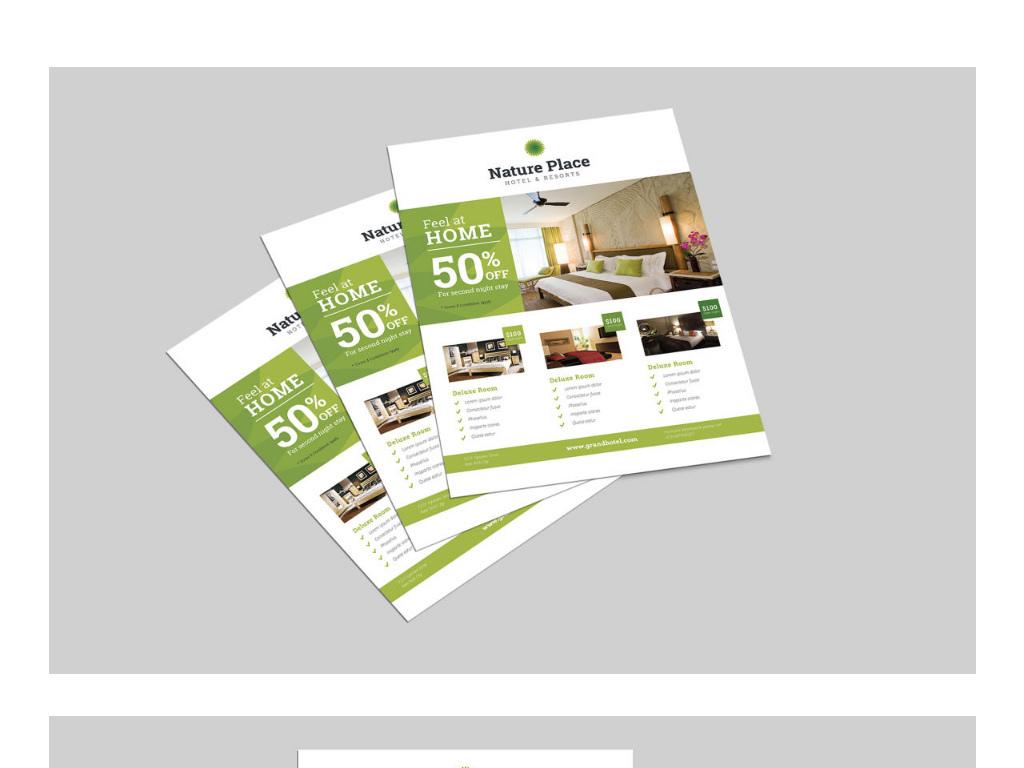 设计作品简介: 绿色现代干净的酒店传单dm单海报