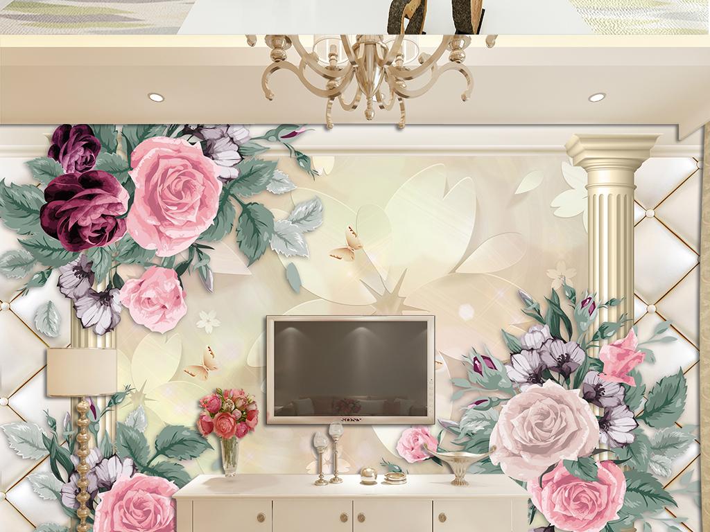 欧式电视背景墙 > 3d立体浮雕花欧式罗马柱手绘牡丹