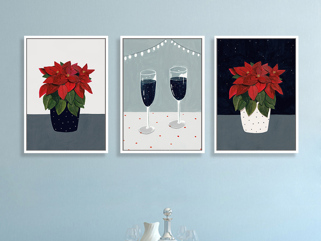北欧简约手绘花卉酒杯小清新装饰画