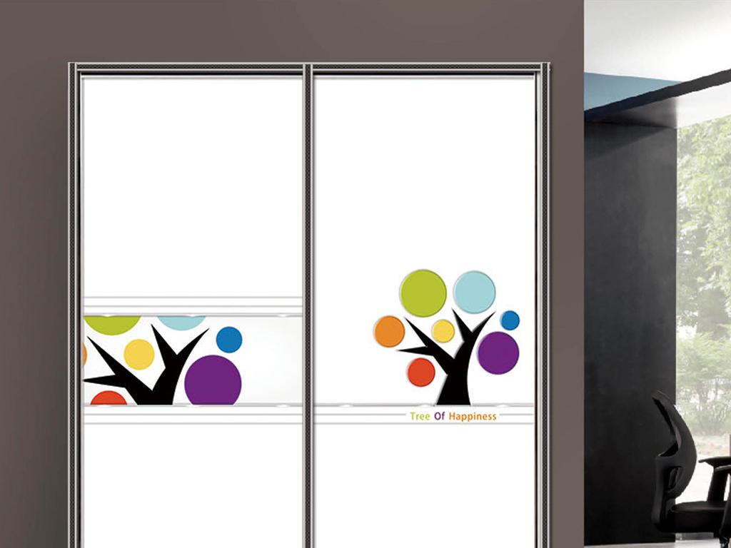 流行uv打印雕刻手绘卡通树衣柜移门图片背景素材下载